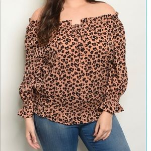 Leopard Print off the Shoulder Top